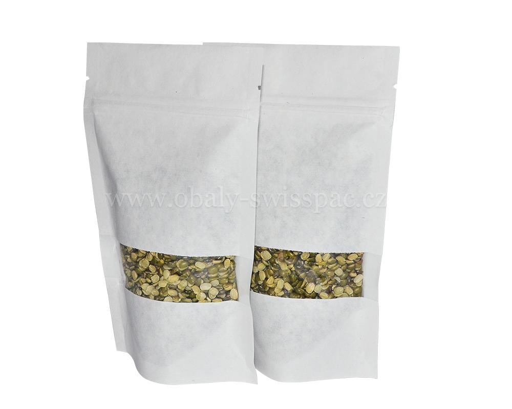 Taška bílého papíru s oknem obdélníku